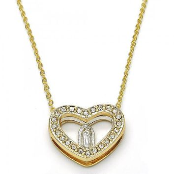 Gold Layered 04.253.0004.22 Fancy Necklace, Heart and Guadalupe Design, with White Crystal, Polished Finish, Two Tone