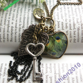 Retro copper heart shaped with peacock glass like malachite silver key and leaf necklace pendant jewelry vintage style