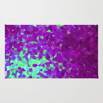 purple and teal abstract shapes Rug by Hannah
