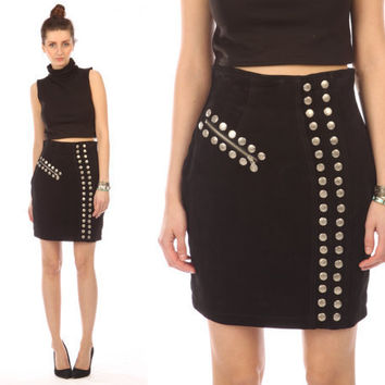 black leather skirt suede // vintage 80s // punk by shopCOLLECT