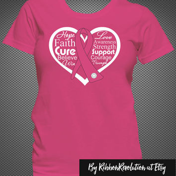 Breast Cancer Heart Ribbon Shirts