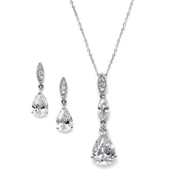 Necklace Set with Pave Top & Cubic Zirconia Pears
