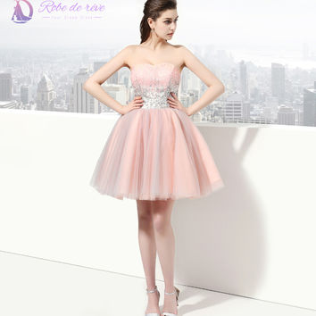 Pink Short Formal Cocktail Dress Sweetheart Shiny Sequins