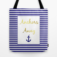 Anchors Away Tote Bag by Laura Maria Designs