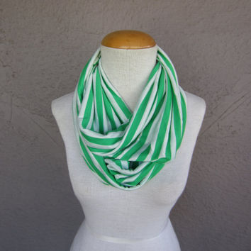 Striped Infinity Scarf - Green and White Striped Scarf - Striped Fashion Cowl