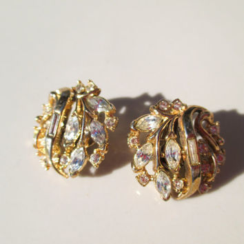 Vintage Gold Trifari Earrings Clip On Rhinestones