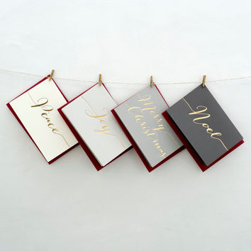 Pack of Luxury Hand Pressed Christmas Cards
