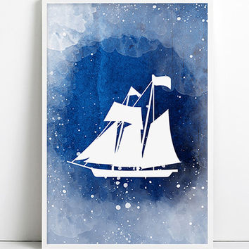 Watercolor boat Blue Nautical Decor Navy Vintage rustic Boat Ship wheel Anchor Beach House Bathroom Art Antique Ocean Coastal decor wall art