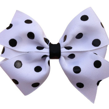 ON SALE 20% OFF White bow with black polka dots - white & black polka dot bow