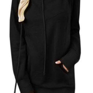 Black Funnel Neck Long Sleeve Pocket Hoodie