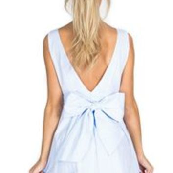 Lauren James Emerson Seersucker Bow Back Dress in Blue