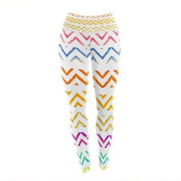 "Sreetama Ray ""Chevron Add"" Warm Chevrons Yoga Leggings"