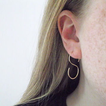 Niobium S Shaped Hand Formed Hoop Earrings