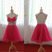 Custom Made Halter Strap Fuchsia Organza Mini Dress,Party Dress, Prom Dress,Evening Dress With Beads