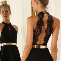 Women Summer Sexy Halter Lace Backless Dress For Party Wedding Graduation Bridesmaid