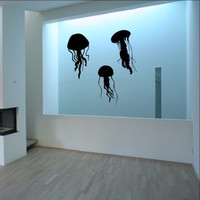 Jellyfish Silhouettes Decals - Jellyfish Set of Three Vinyl Wall Decals 22513