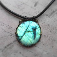 Green labradorite large round pendant necklace/ labradorite, leather, oxidized brass