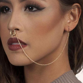 2017 New Design Summer Style Crystal Fake and Studs Earring Chain Gold Hoop Fake Septum Piercing For Women Jewelry
