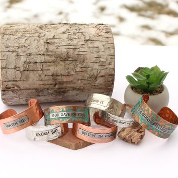 Inspirational Metal Cuffs | Western Jewelry