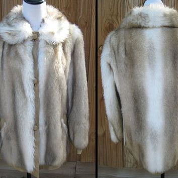 50% Off SALE / Lilli Ann Boho Chic Faux Fur & Leather Trimmed Coat - Neutral, Beige, Cream, Peter Pan Collar - Made in England Size M Medium