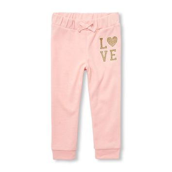 Baby And Toddler Girls Active Glitter Graphic Jogger Pants