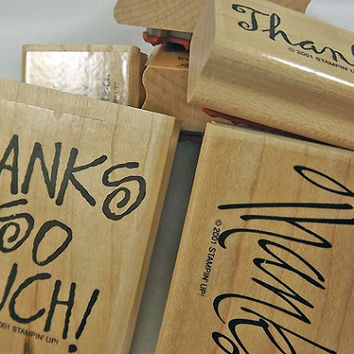 """STAMPIN' UP Rubber Stamp Set -  """"Many Thanks""""  - 2001 Retired Set for Scrapbooking. Cardmaking, Collage, Crafts"""