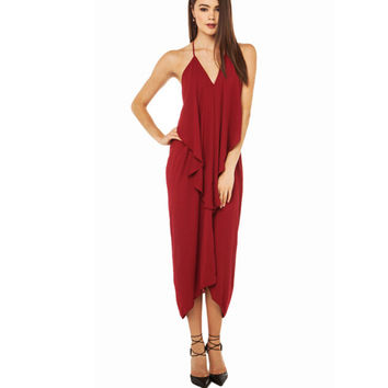 Burgundy Spaghetti Strap Asymmetrical Halter Dress