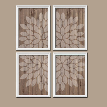 Wall Art Canvas Artwork Wood Grain Faded Flower Burst Petal Design Set of 4 Prints Dahlia Bloom Flowers Bedroom Bathroom Decor Floral