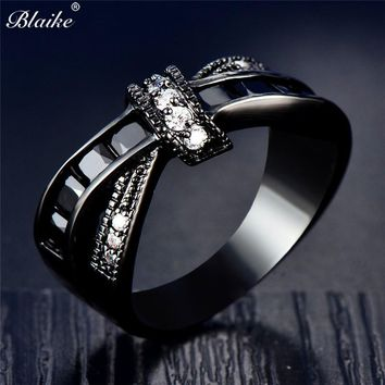 Black Gold Filled Cross Round Stone Cubic Zirconia Ring