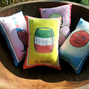 El Barril Barrel Mexican Loteria Mini Pillow with Lavender - Christmas Tuck Pillow or Bowl Filler, Dia De Los Muertos / Day of the Dead