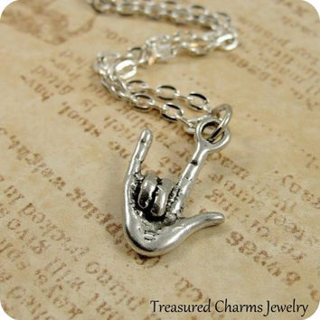 I Love You Sign Language Necklace, Silver Love Sign Language Charm on a Silver Cable Chain