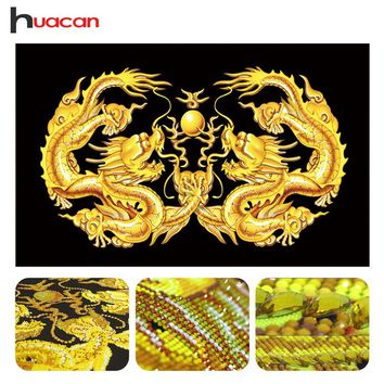 Huacan Special Shaped Dragon Diamond Painting Mosaic Wall Decor DIY 5D Diamond Embroidery Cross Stitch Animals Needle Gift
