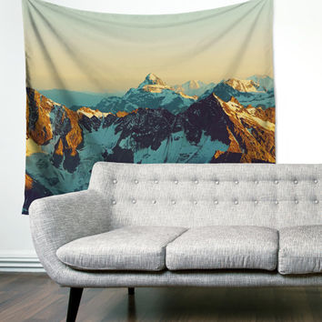 Snow Cap Mountains Boho Wanderlust Unique Dorm Home Decor Gypsy Travel Wall Art Tapestry