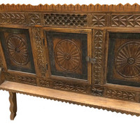 Antique Indian Sideboard Chest Chakra Carved Vintage Teak Wood Rustic Buffet 18c