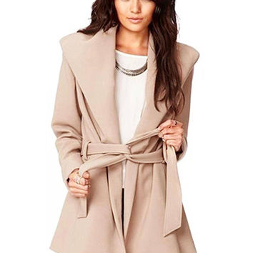 Belted Wrap Coat in Apricot
