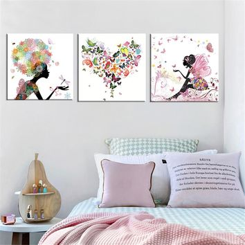 Frameless Dancing Girl Oil Painting Butterfly Wall Poster Canvas Art HD Modular Picture Home Decor ( Include 8 Color ) 3 Pieces