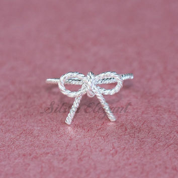 Wire Bow Silver Ring - Forget Me Knot Ring - Adjustable Size Ring - Perfect Gift - Fine Jewelry