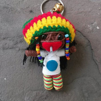 Rasta Bob Marley Reggae Music Star Keyring Keychain Link Bike Movie cartoon Key Ring Key Chain handmade funny Bag Car string doll