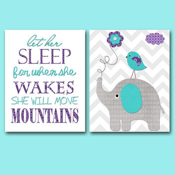 Gray Teal Purple Nursery Quotes Elephant Nursery Canvas Art Nursery Art for Children Kids Art Baby Boy Room Baby Boy Nursery Print set of 2