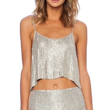 MLV Whitney Sequin Top in Metallic Silver