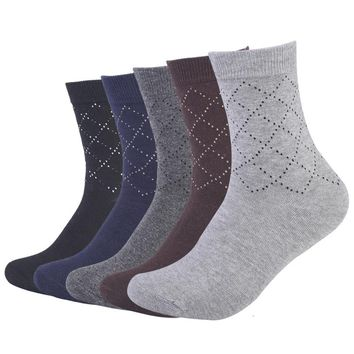 Men diamond dotted line pattern cotton socks male high quality long socks  5pairs/lot