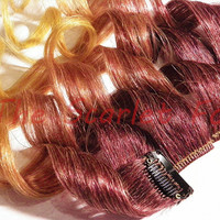 "SALE Last Min Halloween FREE SHIPPING! 4x 12"" Star Dust : Purple Yellow Ombre Clip in Dip Dye 100% Human Hair Extensions"