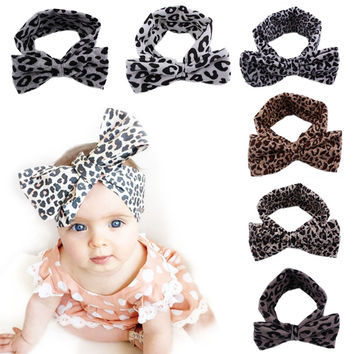1 pc Baby Girl Fashion Leopard Elastic Stretch Plain Rabbit Bow Style Hair Band Headband Turban HairBand hair accessories