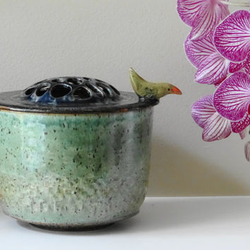Green Bird Jar, Ceramic Kitchen Canister, Lidded jar,  Keepsake urn, Stash jar, Ceramic jar with lid, Cookie jar, Green Ceramic canister