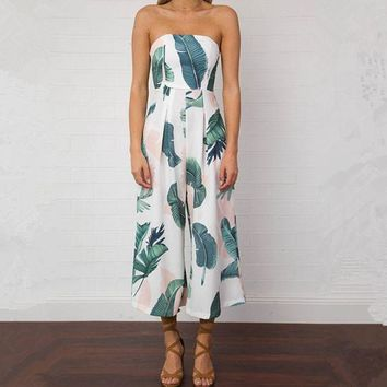 LMFHQ9 Women'S Sexy Printed Strapless Jumpsuits