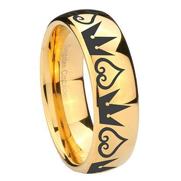 8MM Mirror Dome Hearts and Crowns 14K Gold IP Tungsten Carbide Laser Engraved Ring