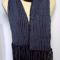 Adult men / teenager hand knitted Brioche scarf . Blue and navy.