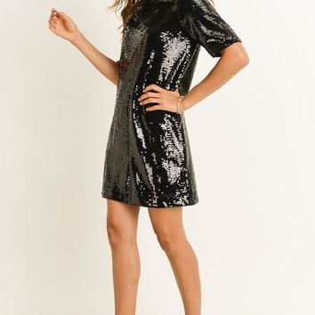 Fancy Girl Black Sequin Shift Dress