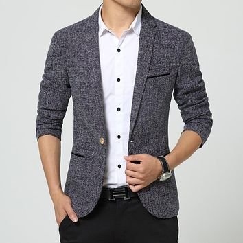 new men singers Fashion dress linen suit jacket brand clothing Men's casual suits Korean Slim small Western singers dress