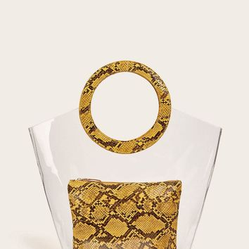 Clear Tote Bag With Snakeskin Inner Bag